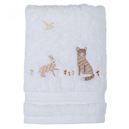 Serviette de toilette bouclette de coton biologique broderie lapin et renard  Orée blanc