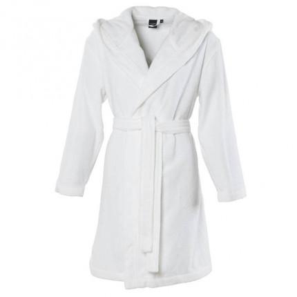 Peignoir femme à capuche uni coton biologique Osmose blanc