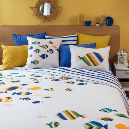 Parure de lit percale de coton imprimée poissons Ouessant bord de mer