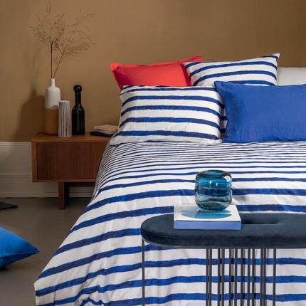 Parure de lit percale de coton imprimée rayures Ouessant urbain