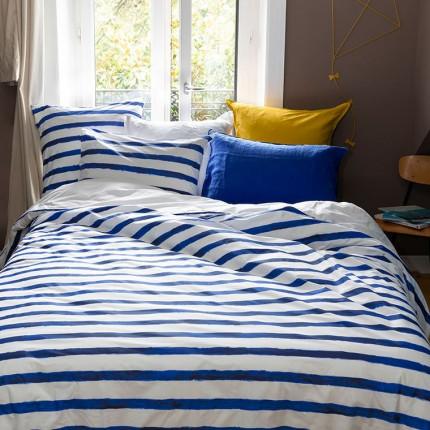 Parure de lit percale de coton imprimée rayures Ouessant enfant