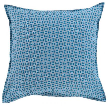 Taie d'oreiller carrée coton géométrique bleu Paros