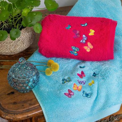Parure de bain bouclette de coton brodé papillons Issoria