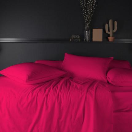 Parure de lit percale de coton Neo magenta