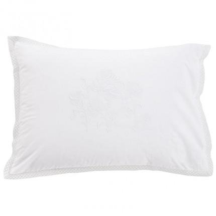 Taie d'oreiller rectangulaire percale de coton peignée Pensées blanc