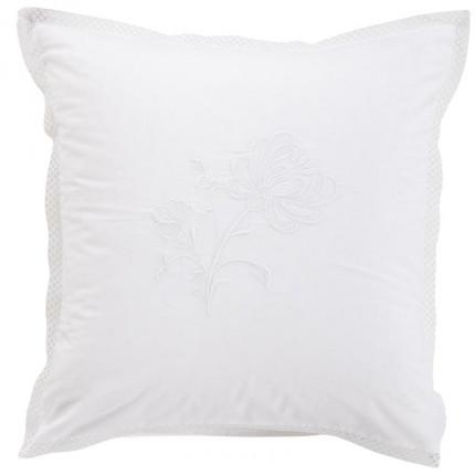 Taie d'oreiller carrée percale de coton peignée Pensées blanc