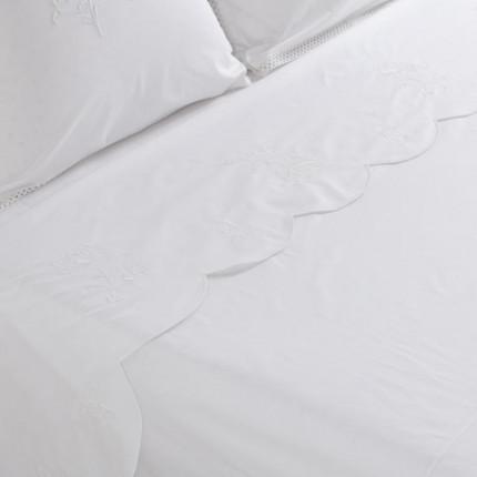 Drap de lit percale de coton peigné Pensées blanc