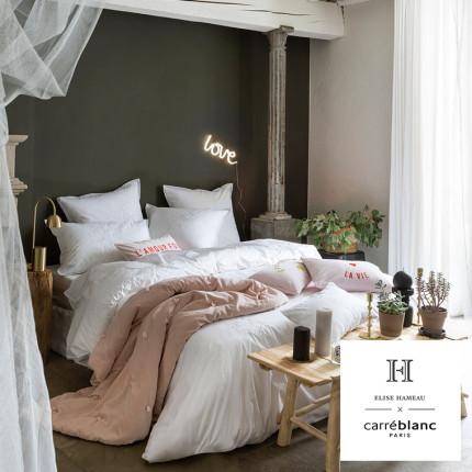 Parure de lit percale de coton peignée Pensées