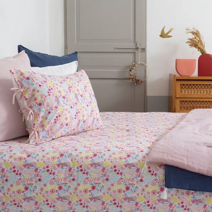 Parure de lit pur coton biologique imprimée fleurs Poésie