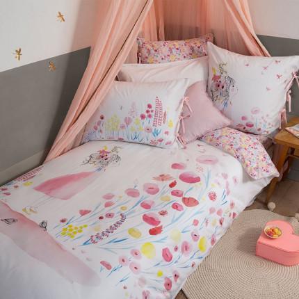 Parure de lit pur coton biologique imprimée fillette Poésie