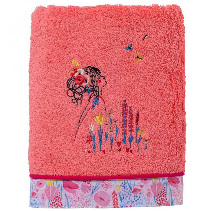 Drap de bain coton biologique brodé fleurs Poésie corail