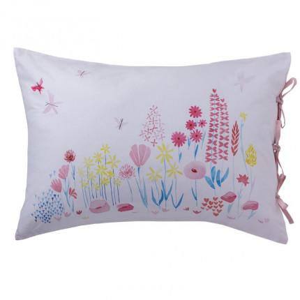 Taie d'oreiller rectangulaire pur coton biologique imprimée fleurs Poésie