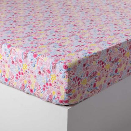 Drap housse pur coton biologique imprimé fleurs Poésie