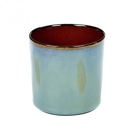 Pot cylindrique en grès DECO BLEU