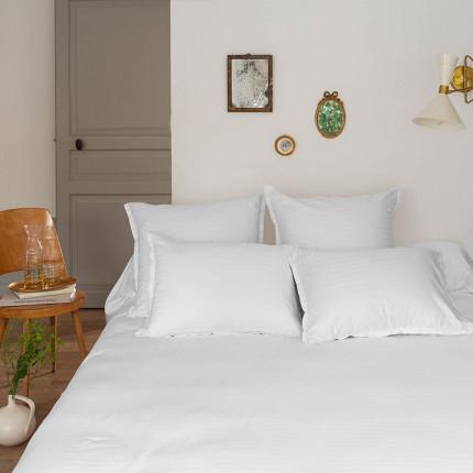 Parure de lit satin de coton jacquard pois et rayures Prestige blanc