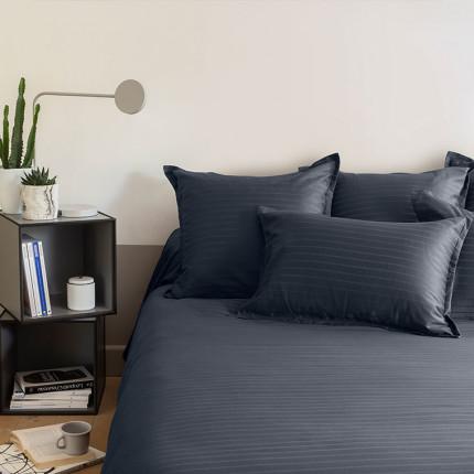 Parure de lit satin de coton jacquard pois et rayures Prestige bleu nuit