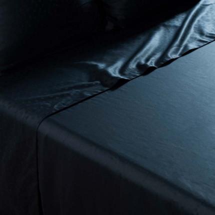 Drap de lit satin de coton jacquard pois et rayures Prestige noir