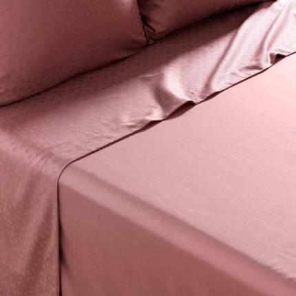 Drap de lit satin de coton jacquard pois et rayures Prestige santal