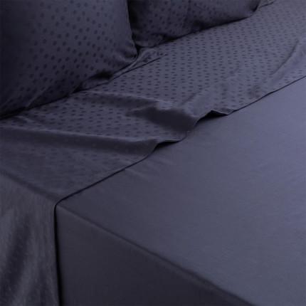 Drap de lit satin de coton jacquard pois et rayures Prestige bleu nuit