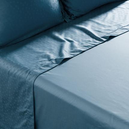 Drap de lit satin de coton jacquard pois et rayures Prestige glacier