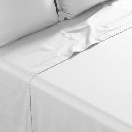 Drap de lit satin de coton jacquard pois et rayures Prestige blanc