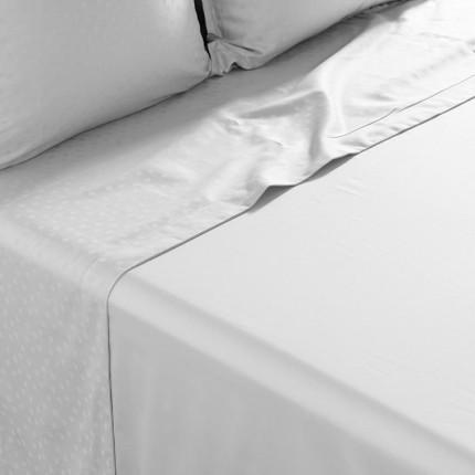 Drap de lit satin de coton jacquard pois et rayures Prestige tourterelle