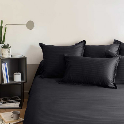 Parure de lit satin de coton jacquard pois et rayures Prestige noir