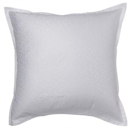 Taie d'oreiller carrée satin de coton jacquard pois et rayures Prestige blanc