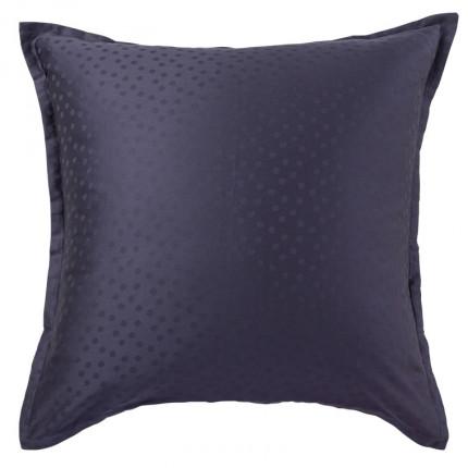 Taie d'oreiller carrée satin de coton jacquard pois et rayures Prestige bleu nuit