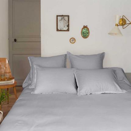 Parure de lit satin de coton jacquard pois et rayures Prestige tourterelle