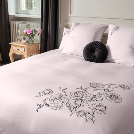 Parure de lit satin de coton brodé floral Promesse