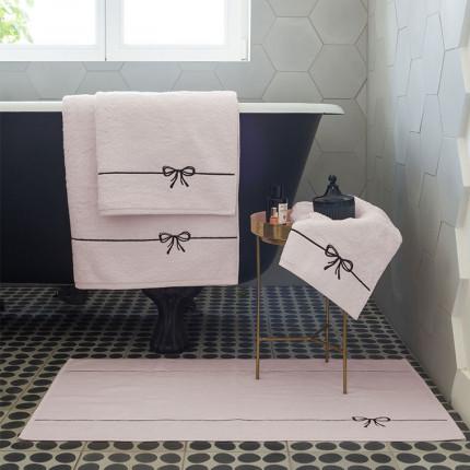 Parure de bain bouclette de coton et viscose de bambou brodée Promesse noeud