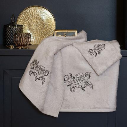 Parure de bain bouclette de coton et viscose de bambou brodée Promesse rose