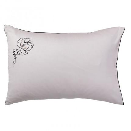 Taie d'oreiller rectangulaire satin de coton brodée floral Promesse nude