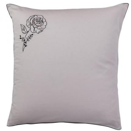 Taie d'oreiller carrée satin de coton brodée floral Promesse nude