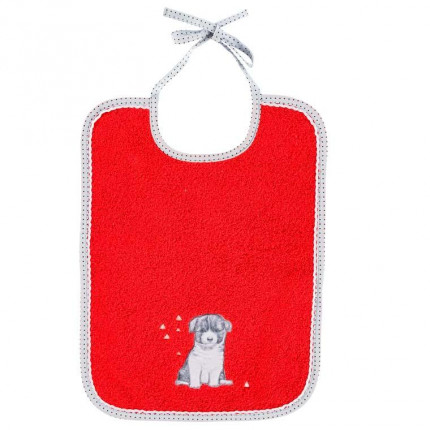 Bavoir coton chien Puppy coquelicot