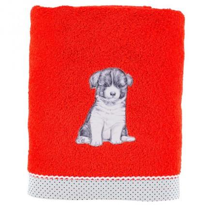 Drap de bain coton chien Puppy coquelicot