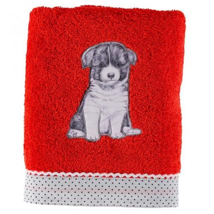 Serviette de toilette coton chien Puppy coquelicot