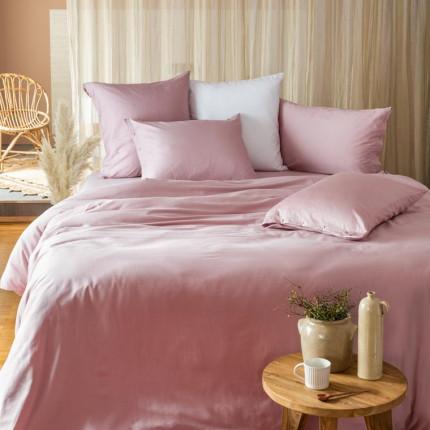 Parure de lit en satin de coton lavé bio Quartz Blush