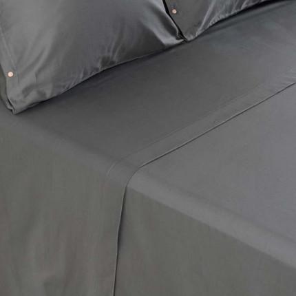 Drap de lit satin de coton lavé bio Quartz galet