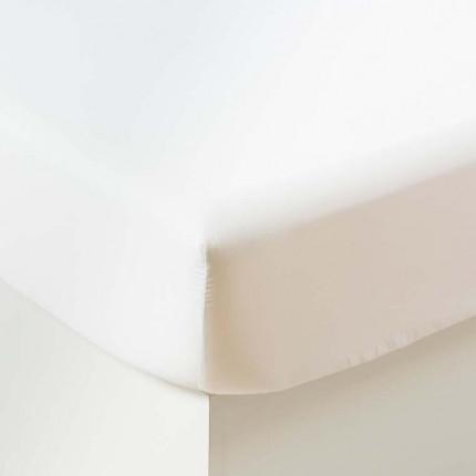 Drap housse satin de coton lavé bio Quartz blanc