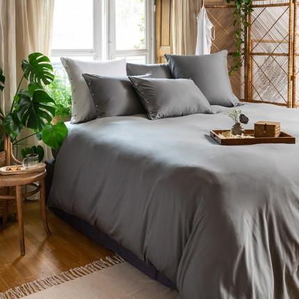 Parure de lit en satin de coton lavé bio Quartz Galet