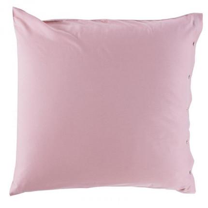 Taie d'oreiller carrée satin de coton lavé bio Quartz blush