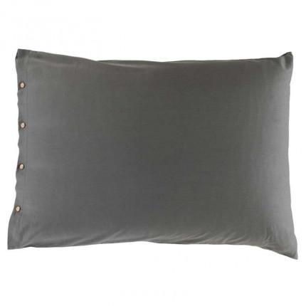 Taie d'oreiller rectangulaire satin de coton lavé bio Quartz galet