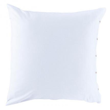 Taie d'oreiller carrée satin de coton lavé bio Quartz blanc