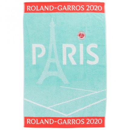 Serviette de plage joueuse bouclette jacquard de coton Roland-Garros 2020 céladon