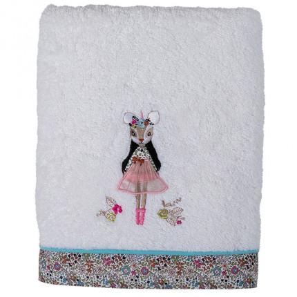Drap de bain bouclette de coton broderie animaux et fleurs Romance ivoire