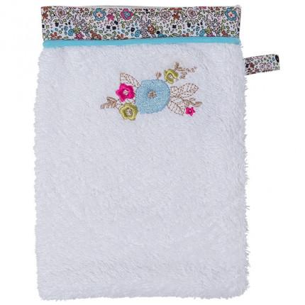 Gant de toilette bouclette de coton broderie animaux et fleurs Romance ivoire
