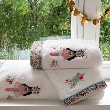 Parure de bain bouclette de coton broderie animaux et fleurs Romance