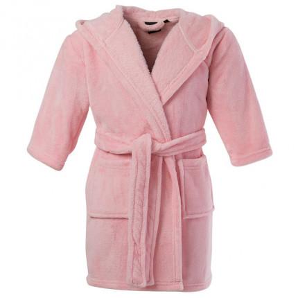 Robe de chambre enfant polaire à capuche brodée Romance rose